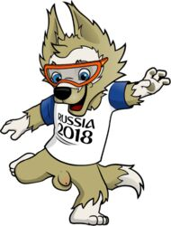 anthro balls blue_eyes bottomless brown_fur canine casual clothed clothing edit eyewear fifa flaccid fur goggles male mammal mascot nude penis russia russian soccer solo solo_male sport strudae_(artist) wolf world_cup zabivaka