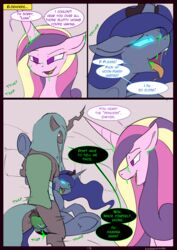 2016 adultery alicorn animal_genitalia changeling comic dark_genitals english_text equine female friendship_is_magic group group_sex horn infidelity kanashiipanda mammal my_little_pony ovipositor possession princess_cadance_(mlp) princess_luna_(mlp) queen_chrysalis_(mlp) sex text threesome wings