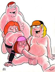 chris_griffin cunnilingus family_guy fellatio female foursome from_behind glasses human lois_griffin male meg_griffin oral peter_griffin rob_durham