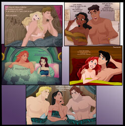 adam ariel aurora beauty_and_the_beast bed belle canon_couple couple crossover dark-skinned_female dark_skin disney duo female husband_and_wife interracial john_rolfe john_smith male native_american pocahontas pocahontas_(character) prince_eric prince_naveen prince_phillip princess_tiana psyclopathe sleeping_beauty straight the_princess_and_the_frog threesome