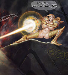 2017 action action_pose arm_cannon armour beam blonde blonde_hair blood blue_eyes cannon dialogue english_text female good_end grin happy huge_ass huge_breasts kill killed killing kyuzuc laser laser_beam metroid murder offscreen pauldrons ponytail power_suit revenge samus_aran smile smiling smirk smug solo standing text thick_thighs tied_hair tight_outfit unconvincing_armor vagina