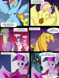2016 anthro anthrofied breasts comic dialogue dickgirl english_text equine female fluttershy_(mlp) friendship_is_magic hair intersex mammal my_little_pony penis pinkie_pie_(mlp) queen_chrysalis_(mlp) rarity_(mlp) suirano text