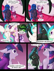 2016 anthro anthrofied comic dialogue dickgirl english_text equine female friendship_is_magic hair intersex mammal my_little_pony princess_celestia_(mlp) princess_luna_(mlp) queen_chrysalis_(mlp) suirano text twilight_sparkle_(mlp)