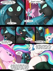 2016 anthro anthrofied breasts comic dialogue english_text equine female friendship_is_magic group mammal my_little_pony nipples princess_cadance_(mlp) princess_celestia_(mlp) queen_chrysalis_(mlp) suirano text