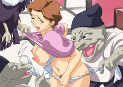 animal areolae black_eyes blush bra breasts breasts_outside brown_hair claws cowboy_shot crow earrings female gangbang hat highres imminent_rape indoors large_breasts legs looking_back milf monster navel nipples ogino_yuuko one_eye_closed open_clothes open_mouth panties pink_clothes pubic_hair saya_products sen_to_chihiro_no_kamikakushi short_hair standing studio_ghibli thighs underwear white_bra white_panties
