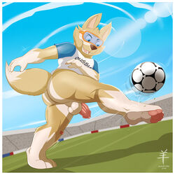 aaron_(artist) action_pose anthro ass backsack ball balls barefoot border bottomless canine clothed clothing eyewear goggles half-erect kick long_foreskin low-angle_view male mammal open_mouth outside pawpads penis perineum sharp_teeth shirt signature smile soccer soccer_ball solo solo_male sport stadium t-shirt teeth uncut white_balls zabivaka