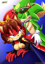 1boy anthro female fiona_fox furry mobius_unleashed scourge_the_hedgehog sex tagme