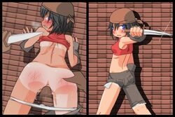 ass bandana before_and_after black_hair blue_eyes clenched_teeth clothed_sex female fingerless_gloves forced instant_loss_2koma knife rape sequential sex small_breasts spanked tanline tears thief underwear vaginal_penetration weapon white_panties