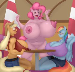 2016 absurd_res anthro anthrofied applejack_(mlp) areola belt big_breasts blonde_hair blue_feathers blues64 blush breasts cleavage closed_eyes clothed clothing cutie_mark denim_shorts earth_pony equine feathered_wings feathers female freckles friendship_is_magic group hair hat hi_res horse huge_breasts hyper hyper_breasts inside long_hair mammal marauder6272 multicolored_hair my_little_pony navel nipples nude open_mouth pegasus pink_hair pinkie_pie_(mlp) pony pussy rainbow_dash_(mlp) rainbow_hair shorts sitting wings