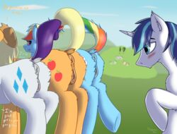 2016 anus applejack_(mlp) blue_fur blush clitoral_winking clitoris cloud cowboy_hat cutie_mark dock earth_pony english_text equine female feral friendship_is_magic fur grass group hair hat horn horse male mammal multicolored_hair my_little_pony outside pony presenting presenting_pussy pussy rainbow_dash_(mlp) rainbow_hair rarity_(mlp) shining_armor_(mlp) sky stargazer take_your_pick text unicorn