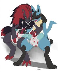 2boys cum cum_on_face diaper furry gay lucario male_only nintendo penis pokemon text video_games zoroark