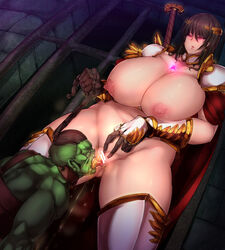 1boy armor breasts cape cunnilingus drinking_pee female gauntlets golden_shower green_skin hair_pull helmet large_breasts long_hair open_mouth oral orc original peeing ponytail pussy sekiyu_(spartan) tied_hair urine