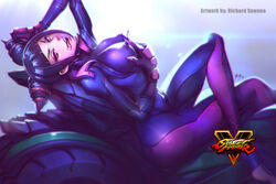 ass bedroom_eyes big_ass black_hair bodysuit breast_grab breasts capcom clothed curvy drill_hair eyelashes female female_only fingerless_gloves gloves highres human juri_han large_breasts looking_at_viewer lying motorcycle nipple_bulge on_back perky_breasts pink_eyes posing richard_suwono seductive self_fondle sidelocks solo street_fighter street_fighter_v toeless_legwear tongue tongue_out twin_drills vehicle