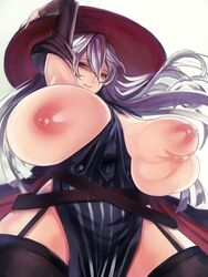 arm_up breast_grab breast_hold breasts detached_sleeves gigantic_breasts grabbing granblue_fantasy hat highres inverted_nipples long_hair magisa_(granblue_fantasy) nipples silver_hair smile solo tahnya witch_hat