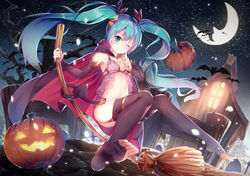 aqua_eyes aqua_hair barefoot broom cape commentary crescent_moon detached_sleeves feet female halloween hatsune_miku jack-o'-lantern long_hair moon navel night one_eye_closed outdoors pumpkin revision sky solo star_(sky) starry_sky thighhighs toeless_legwear toes tree twintails very_long_hair vocaloid yan_(nicknikg)