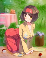 00s 1girl all_fours ass black_hair blush breasts brown_eyes brown_hair chair cleavage clothed collarbone erika_(pokemon) female flower food glass grass gym_leader hairband hakama hanging_breasts human japanese_clothes kazo kimono large_breasts looking_at_viewer nintendo outdoors plant poke_ball pokemon pokemon_frlg potted_plant red_hakama sash short_hair smile solo table wide_sleeves yellow_eyes