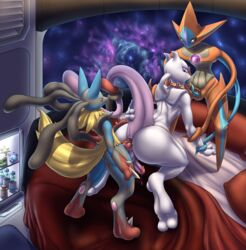 all_fours anal bedroom deoxys doggy_style from_behind_position group group_sex knot legendary_pokémon lucario mega_evolution mega_lucario mewtwo mykiio nintendo oral penetration pokemon sex space spitroast threesome video_games