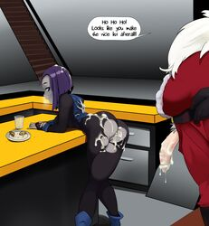 after_sex bent_over bukkake christmas cum dialog female male male/female polyle purple_hair raven raven_(teen_titans) santa santa_claus speech_bubble table teen_titans torn_clothes