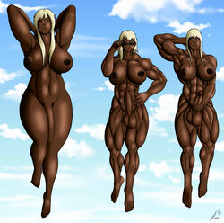 3girls arms_up balls blonde_hair blue_eyes dark_skin dickgirl erection flaccid floating futanari green_eyes large_breasts morbo22 muscle original penis red_eyes sky sunglasses