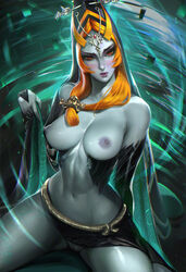 1girl bare_shoulders belly black_skirt blush breasts closed_mouth facial_mark female female_only front_ponytail grey_skin head_tilt hips holding_clothes holding_object hood hood_up jewelry large_breasts legs lipstick long_hair long_sleeves looking_at_viewer makeup midna midriff mole navel nintendo nipples orange_eyes orange_hair ponytail purple_lips pussy realistic sakimichan side_slit signature skirt solo spread_legs the_legend_of_zelda thighs tied_hair twili twili_midna twilight_princess vagina wide_sleeves
