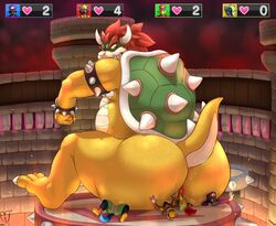 anthro anus ass avian biceps big_anus bowser butt_crush canine cervine crush horn hyper interspecies koopa looking_back male mammal moofus musk nintendo nude overweight scalie shell sitting size_difference sparkx spikes squashing super_mario_bros. sweat wolf yaoi
