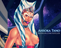 ahsoka_tano ball_gag bare_shoulders blue_eyes breasts clone_wars disney eromaxi female gag large_breasts nipples orange_skin solo star_wars togruta topless