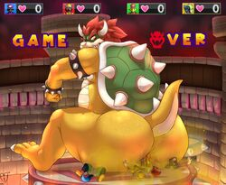 anthro anus ass avian biceps big_anus bowser butt_crush canine cervine crush english_text fart fart_fetish furry horn hyper interspecies koopa looking_back male mammal moofus musk nintendo nude overweight scalie shell sitting size_difference sparkx spikes squashing super_mario_bros. sweat text wolf yaoi