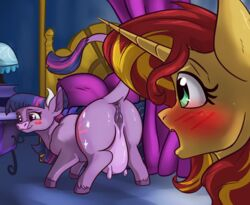 alorix anatomically_correct animal_genitalia animal_pussy anus ass bedroom blush bovine cattle equine female feral friendship_is_magic horse mammal my_little_pony pony pussy sunset_shimmer teats twilight_sparcow twilight_sparkle_(mlp) udders