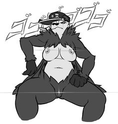 1girl areolae belly big_ass big_breasts breasts censored claws dakkpasserida fangs female female_only glowing_eye grey_fur hat human looking_at_viewer monochrome mouth_hold nintendo nipples nude pangoro pokemon pokemon_xy pussy slightly_chubby solo text thick_thighs video_games white_background white_fur