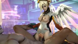 3d amazon_position animated areolae blonde_hair bouncing_breasts breasts erection female genji male mercy nipples no_sound overwatch penis pussy sex sfmfuntime source_filmmaker straight vaginal_penetration