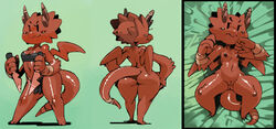 4_fingers ass bed bittenhard blush breasts claws clothing daggers dakimakura_design dragon female horn kobold kobold_princess loincloth looking_at_viewer nipples pussy scalie solo spread_legs spreading towergirls weapon wings