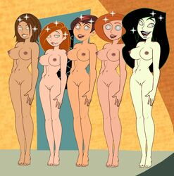 5girls ann_possible barefoot betty_director bonnie_rockwaller breasts gagala hourglass_figure hypnosis kim_possible kimberly_ann_possible nude pussy shego