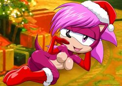 1girl breasts christmas female_only laying_down mobius_unleashed palcomix purple_eyes red_boots red_gloves santa_hat sonia_the_hedgehog tagme tan_fur teasing