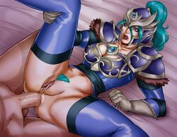 anal aqua_hair armor blue_legwear bottomless breasts cleavage cleavage_cutout clothed_female_nude_male dmr dota_2 female fur_trim gloves helmet long_hair luna_(dota) male open_mouth penis ponytail pubic_hair purple_eyes pussy pussy_juice sheet_grab solo_focus testicles thighhighs