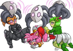 amy_rose clothed cosmo_the_seedrian echidna female hedgehog hypnosis mind_control omegazuel shade_the_echidna sonic_(series) sweat tentacle vaginal_penetration