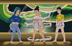 3_girls bulma_briefs censored chichi diaper diaper_buldge diapered dragonball nude shinron