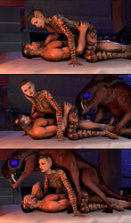 2014 3d alien anal big_eyes breasts commander_shepard cowgirl_position eezo facepalm female female_on_feral feral group group_sex human jack_(mass_effect) lying male mammal mass_effect nude on_back on_top open_mouth penetration pet sequence sex shitty_horsey side_view straight surprised tattoo threesome tusks vaginal_penetration varren video_games zoophilia