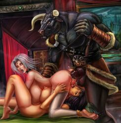 2girls anal_beads bi_domination bisexual black_hair bondage breasts broken_horn collar cum cum_in_ass cunnilingus dark_skin doggy_style femsub horns huge_breasts indoors interspecies laquadia leash leash_pull legend_of_queen_opala maledom minotaur multiple_girls multiple_subs nipples osira penis scar silver_hair slave straight vempire vhazar yellow_eyes yuri