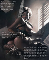 ass breasts broken_rape_victim brown_hair chris3000 clothed_sex cum degradation female holster humiliation jill_valentine male mind_break penis pussy rape resident_evil sienna_guillory skirt toilet_seat tube_top writing