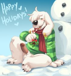 candy candy_cane canine canine family_guy food jasper_(family_guy) komoroshi_(artist) mammal penis scarf snow snowman