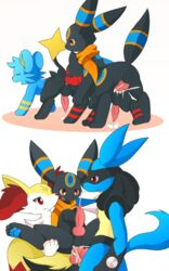 2018 4boys alternate_color anal anal_sex animal_genitalia animal_penis ass black_fur blue_fur blush braixen brown_eyes canine canine_penis cum cum_in_ass cum_inside cum_on_ground cum_while_penetrated cumshot double_anal double_penetration eeveelution ejaculation erection feline feral fur furry gay group group_sex hair hands-free interspecies km-15 knot litten lucario male male_only mammal nintendo open_mouth oral orgasm orgy original_character paws penetration penis pokémon_(species) pokemon pokemon_dppt pokemon_sm pokemon_xy red_eyes rimjob scarf sex shinx simple_background smile testicles umbreon video_games yaoi yellow_fur