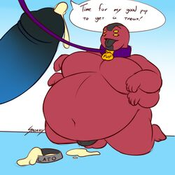 4_arms alien anthro balls belly ben_10 ben_10:_omniverse big_belly cartoon_network collar cum dog_dish dog_tags erection four_arms_(ben_10) humanoid male moobs multi_arm multi_eye multi_limb muscular not_furry nude obese open_mouth overweight penis red_skin simple_background snozzy solo tetramand text tongue