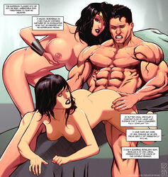 1boy 2girls ass bare_shoulders belly black_hair blue_eyes bracelet breasts clark_kent cock comic dc dc_comics diana_prince english_text female hips justice_league kal-el large_breasts legs lips lois_lane long_hair male multiple_girls navel nipples penetration penis pussy sex short_hair spread_legs straight superman superman_(series) teeth text thighs tiara topless vagina vaginal vaginal_penetration veins veiny veiny_penis wonder_woman wonder_woman_(series)