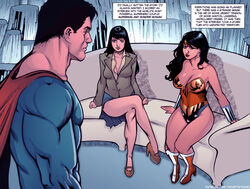 1boy 2girls ass black_hair blue_eyes bodysuit bracelet breasts cape clark_kent cleavage comic covered_breasts dc dc_comics diana_prince english_text female high_heels hips justice_league kal-el large_breasts legs lois_lane long_hair male multiple_girls panties shoes short_hair side_boob sideboob skirt superman superman_(series) text thighs thong tiara wonder_woman wonder_woman_(series)