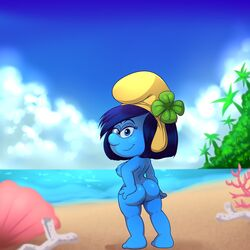 2017 areola ass beach blue_eyes blue_hair blue_skin breasts female hair half-closed_eyes humanoid lonbluewolf looking_at_viewer looking_back nipples not_furry nude pussy seaside solo the_smurfs