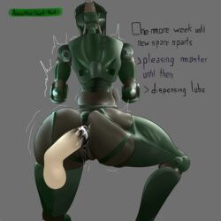 anal anal_juice anal_lips anus ass assaultron big_butt cum cum_in_ass cum_inside disembodied_penis excessive_anal_juice fallout fallout_4 fat_mons lube machine penis robot simple_background technophilia thick_thighs thighs video_games wide_hips ximema