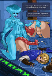 anal_insertion anus areolae ass balls breasts cum dickgirl erection fingering futa_on_male futanari hard-degenerate intersex link long_penis male nipples ocarina_of_time penis precum princess_ruto testicles the_legend_of_zelda top-down_bottom-up