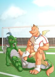 anthro balls blush bottomless closed_eyes clothed clothing coach dragon dragon_tales duo el_pie erection foot_fetish footjob horn humanoid_penis jersey jerseydevil long_penis looking_pleasured male muscular naughty_face nude outside penis precum reclining scalie sitting straining whistle wings yaoi zak_(dragon_tales)