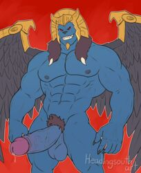 armor ball cum feathered_wings feathers goldar headingsouthart helmet king_sphinx male male_only monster nude penis power_rangers sex wings