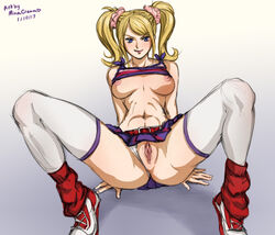 1girl ass belly blonde blonde_hair blue_eyes breasts cheerleader cheerleader_uniform female female_only hips juliet_starling legs lollipop_chainsaw long_hair medium_breasts minacream navel nipples panties pussy shirt shirt_lift shoes simple_background solo spread_legs tagme thighhighs thighs tied_hair twintails underwear vagina white_background